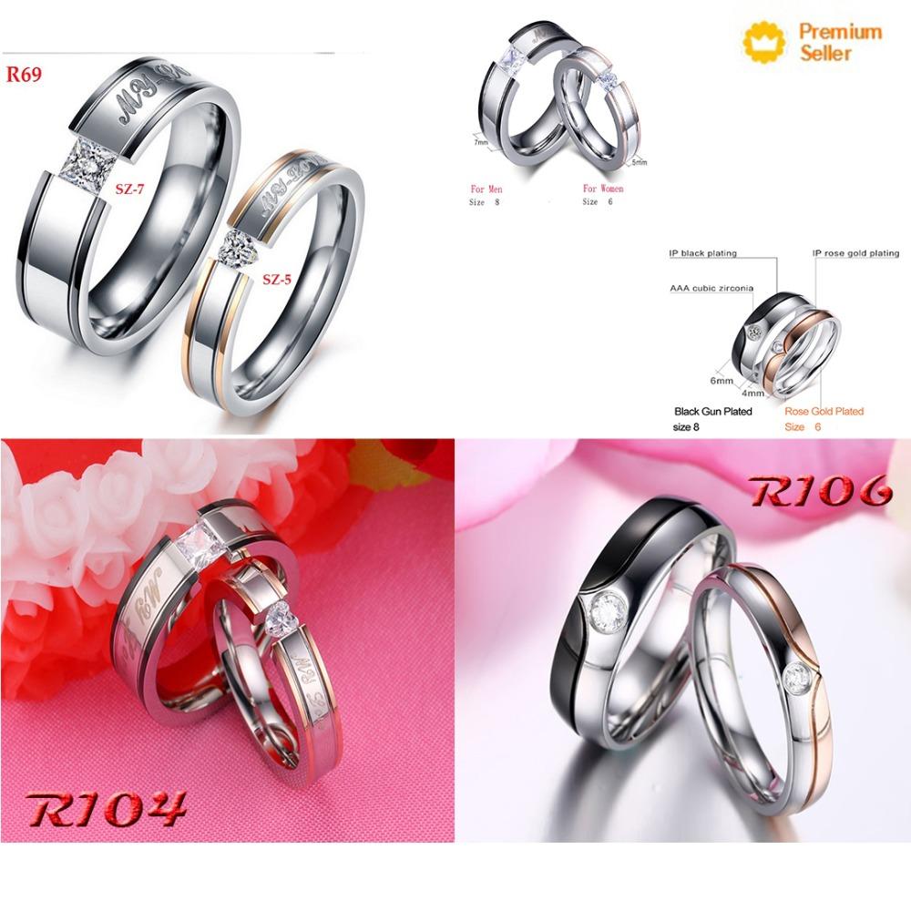R104 Original Wedding Rings For Women Men Stainless Steel- :7874885 ...