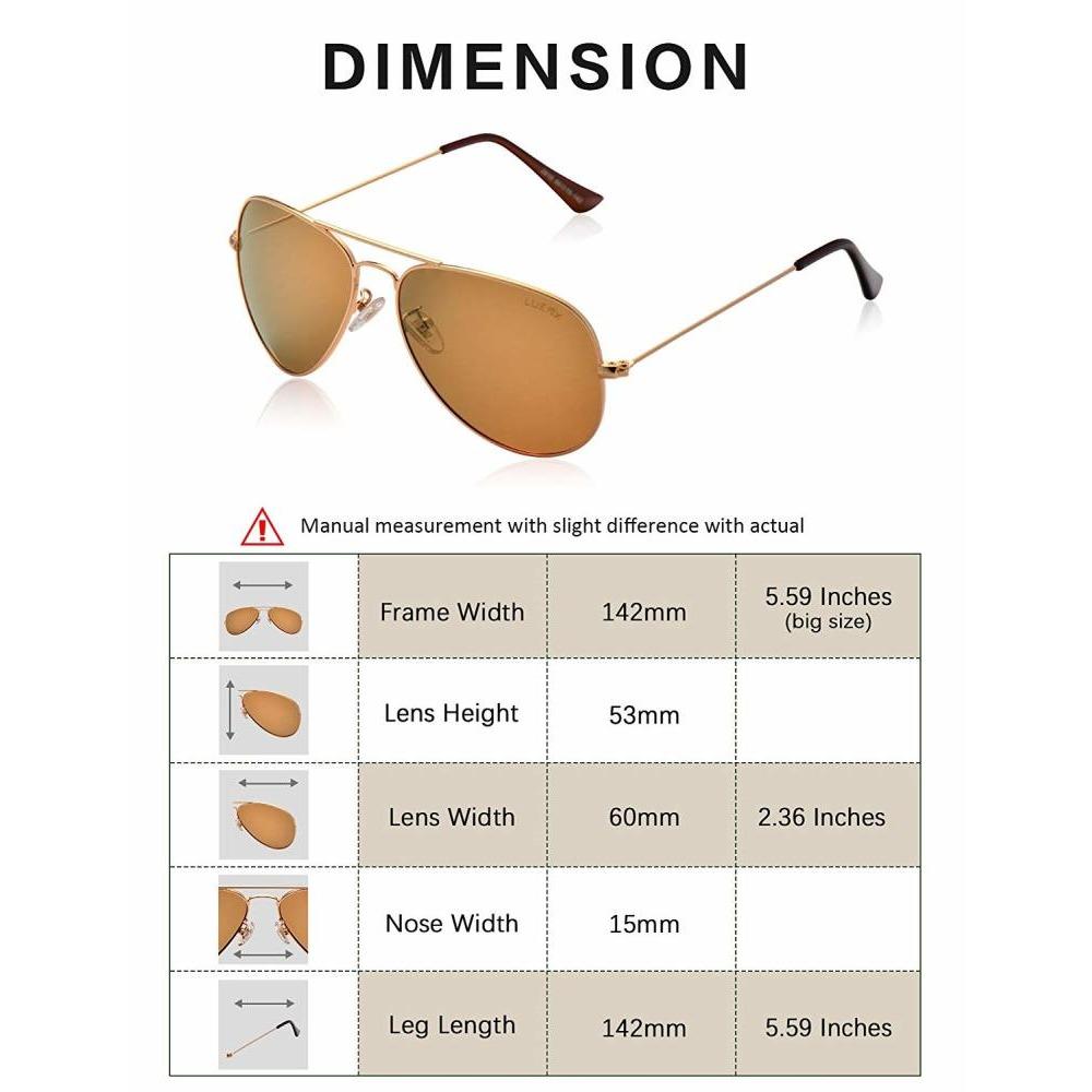 fa2407c936 Original Brand New LUENX 100%UV Pro Polarized Aviator Sunglasses for ...
